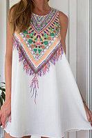 Round Neck  Printed Vintage  Sleeveless Casual Dresses