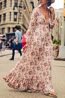 Deep V Neck  Floral Printed  Long Sleeve Maxi Dresses