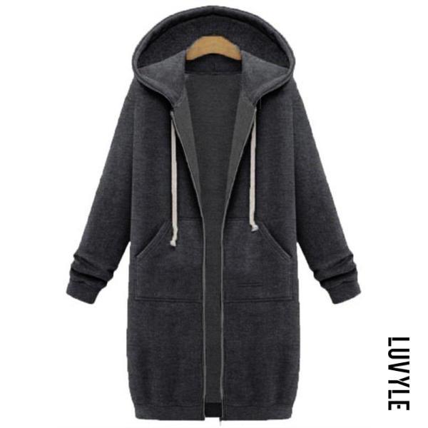 Dark Grey Fashion Long Sleeve Loose Hoodie Coat Dark Grey Fashion Long Sleeve Loose Hoodie Coat