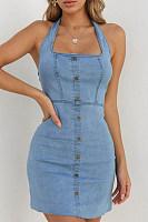 Halter  Decorative Buttons  Decorative Buttons  Plain  Sleeveless Bodycon Dresses
