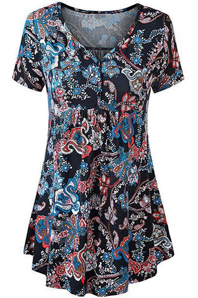 Round Neck Printed Short Sleeve T-shirt