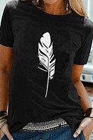Round Neck Feather Print Short Sleeve T-shirt