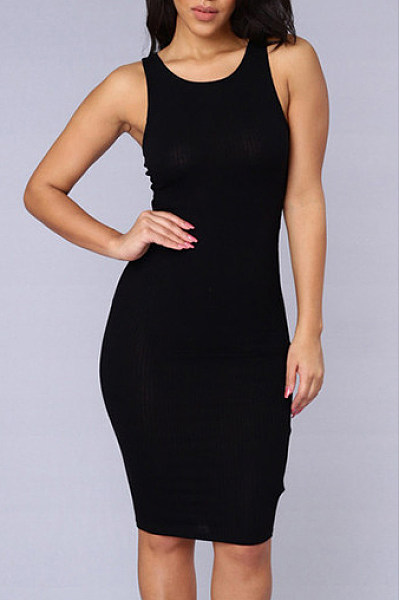 Black Round Neck Plain Sheath Bodycon Dress