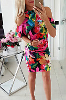 Classy Off-Shoulder Printed Colour Package Buttocks Dress
