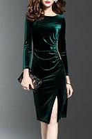 Scoop Neck  Long Sleeve Bodycon Dresses