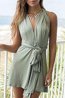 V Neck  Backless  Plain  Sleeveless Casual Dresses