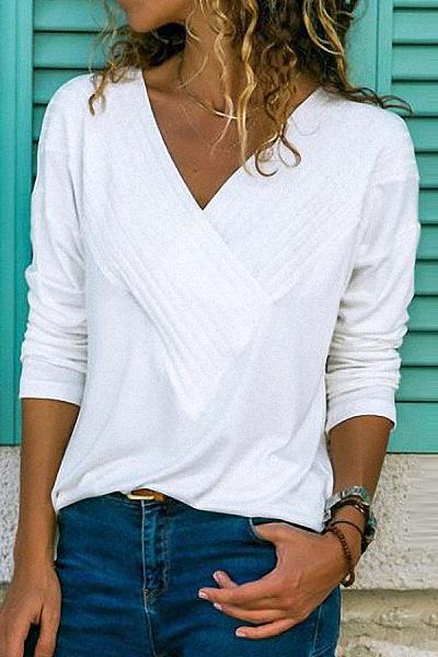 8fed89e3f526b5 Brief V Neck Long Sleeve Plain Casual T-Shirts - Luvyle.com