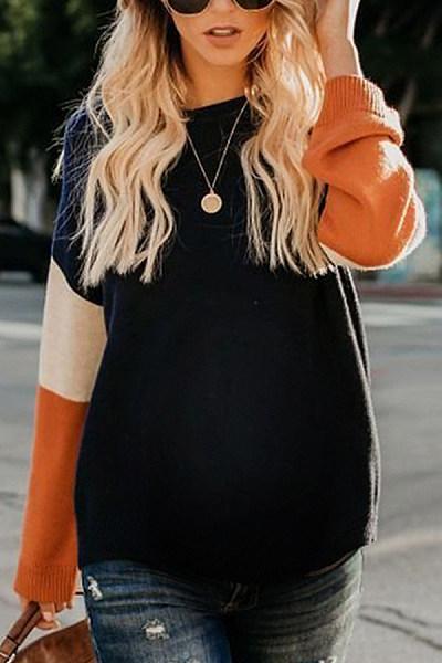 Maternity Sweet Round Neck Stripe Sweater