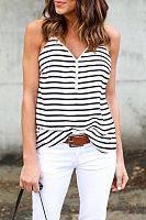 V Neck  Zipper  Striped Camis