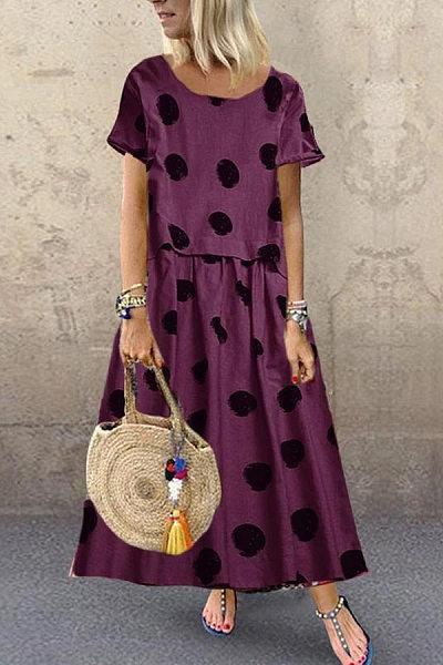 Round Neck Short Sleeve Polka Dot Maxi Dress