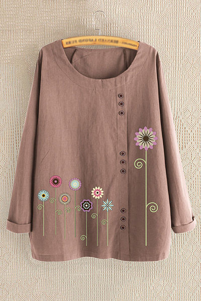 Casual long-sleeved cotton color flower print blouse