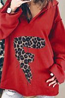 Casual Long Sleeve Leopard Letter Hoody