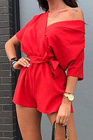 Open Shoulder Plain Basic  Playsuits