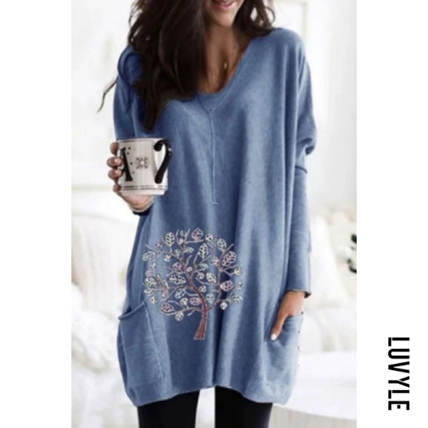 Pullover V-neck Loose Print Casual T-shirt