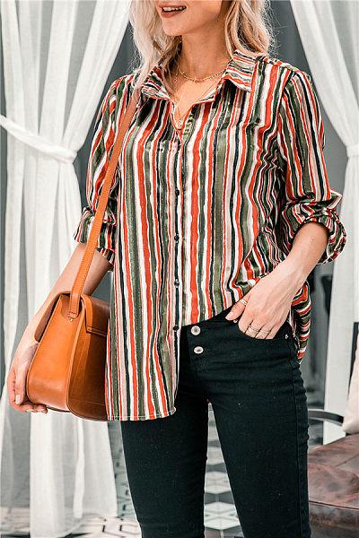 Women's Fashion Long Sleeve Coloring Striped Loose Shirt