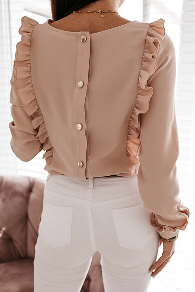 Back Single Breasted Ruffle Solid Blouse