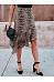 Asymmetrical Hem Leopard Printed Fashion Skirts