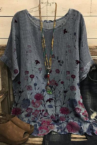 Round Neck Floral Print Short Sleeve Blouse