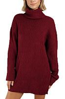 High Collar Plain Casual Sweater