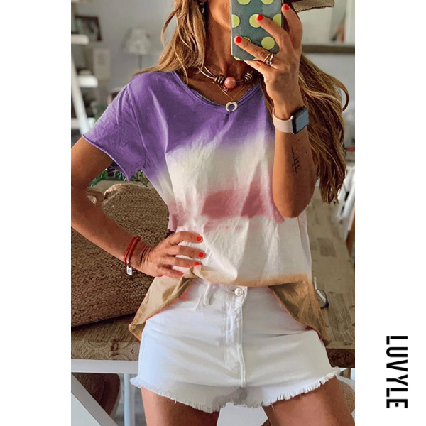 Purple Athleisure Round Neck Short Sleeve Gradient Loose Top T Shirt Purple Athleisure Round Neck Short Sleeve Gradient Loose Top T Shirt