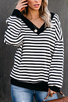 Casual v neck long lantern sleeves striped loose t-shirt