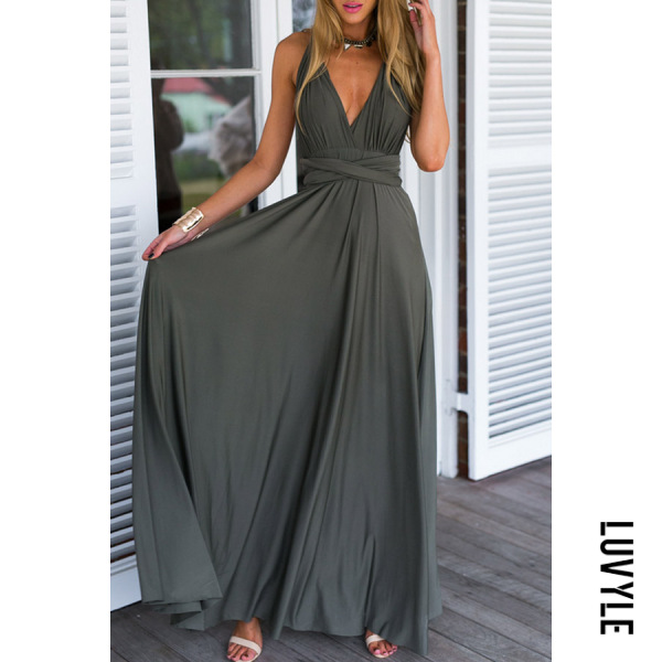 Army Green Multi- Way Plain Maxi Dresses Army Green Multi- Way Plain Maxi Dresses