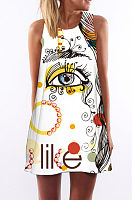 Round Neck  Letters Printed  Sleeveless Casual Dresses