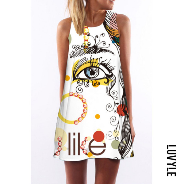 White Round Neck Letters Printed Sleeveless Casual Dresses White Round Neck Letters Printed Sleeveless Casual Dresses