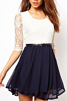 Patchwork Lace Skater Dresses