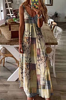 Vintage Printed Camisole Maxi Dress