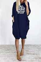 Round Neck Letters Pockets Casual Dress