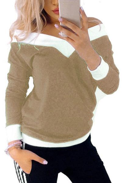 Shoulder Collar Long Sleeve Plain T-Shirt
