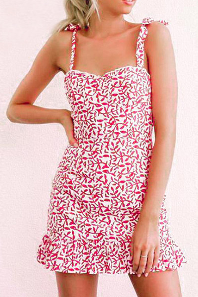 Spaghetti Strap  Printed  Sleeveless  Elegant Bodycon Dresses
