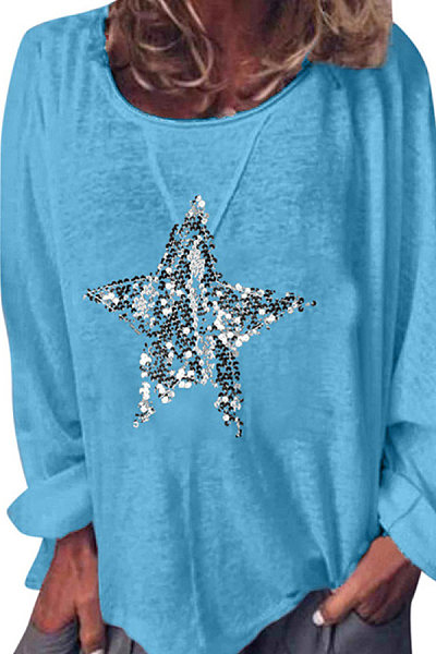 Solid Sequined Pentagram Long Sleeve Round Neck T-Shirt