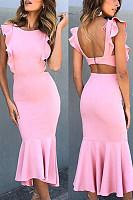 Round Neck  Cutout  Plain  Sleeveless Bodycon Dresses