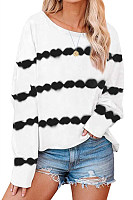 Tie-dye Striped Round Neck T-shirt
