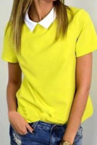 Turn Down Collar  Plain T-Shirts
