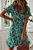 V Neck  Floral Printed  Short Sleeve Skater Dresses