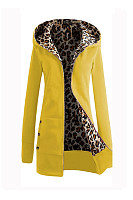 Hooded Leopard Plain Outerwear