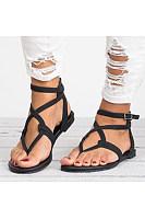 Plain  Flat  Ankle Strap  Peep Toe  Casual Sandals