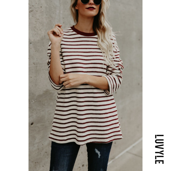 White Round Neck Striped T-Shirts White Round Neck Striped T-Shirts