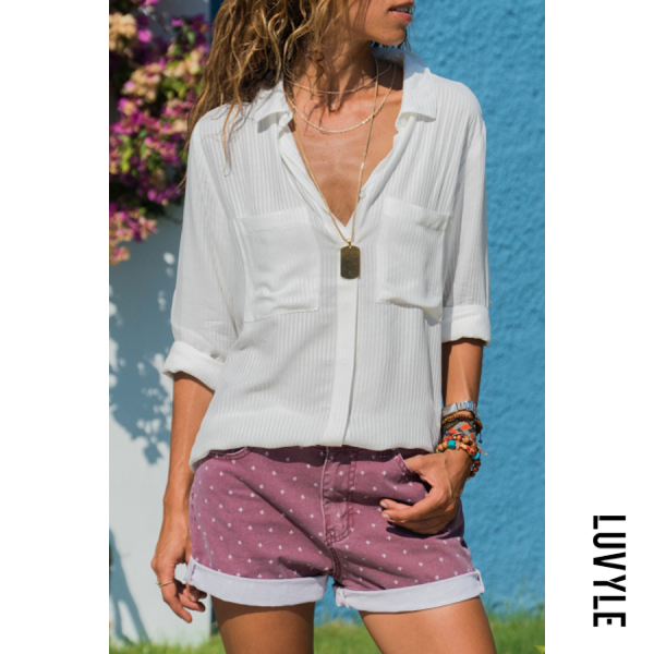 Fashion V-neck Solid Color Casual Long-sleeved Shirt