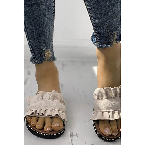 Plain Flat Peep Toe Travel Casual Comfort Slippers