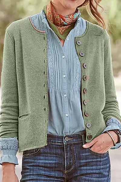 Single Breasted Pockets Plain Cardigan