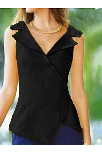 Fold Over Collar Diagonal Button Irregular Blouse