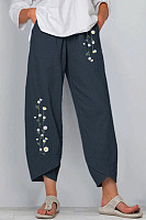 Cotton And Linen Printed Elastic Waist Pants