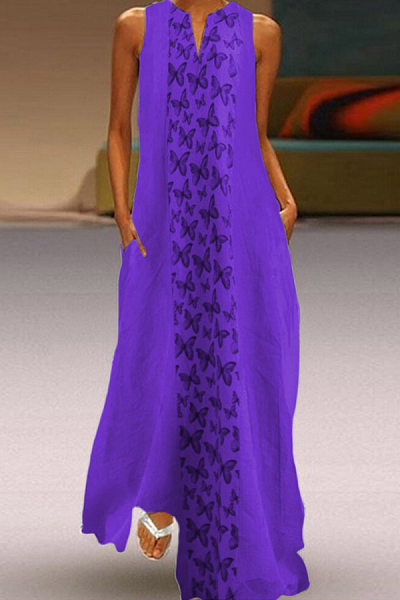 Bohemian V Neck Sleeveless Butterfly Splice Maxi Dress
