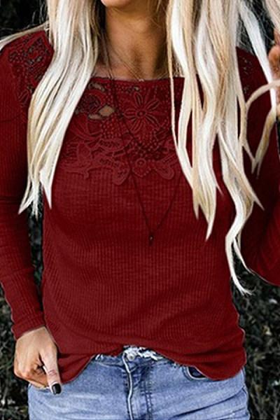 Round Neck Long Sleeve Plain Decorative Lace T-Shirt