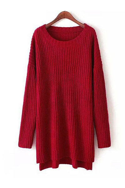 Round Neck  Slit  Plain Sweaters
