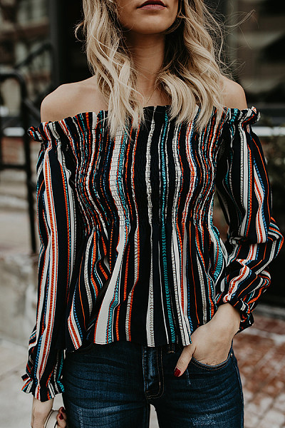 Strapless  Ruffle Trim Smocked Bodice  Vertical Striped Blouses